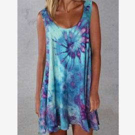 Round Neck Sleeveless Tie-dye Printed Dress Nihaostyles Wholesale Clothing Vendor NSLZ72634