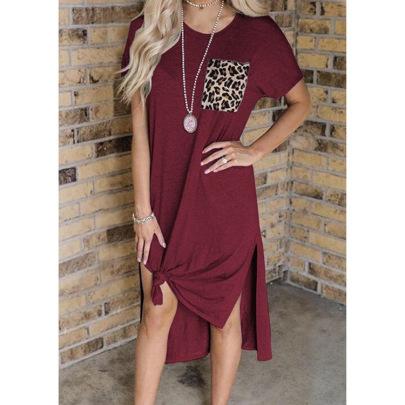 Leopard Print Pocket Stitching Short-sleeved Dress Nihaostyles Wholesale Clothing Vendor NSLZ72635