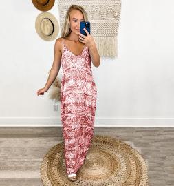 Tie-dye Printing Loose Sling Long Dress Nihaostyles Wholesale Clothing Vendor NSLZ72641