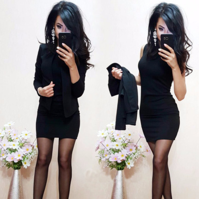Solid Color Small Blazer Skirt Two-piece Set Nihaostyles Wholesale Clothing Vendor NSLZ72644
