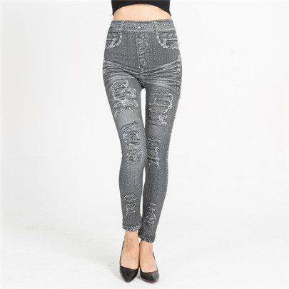 Imitation Denim Elastic Thin Slim Nine-point  Leggings Nihaostyles Wholesale Clothing Vendor NSQY72645