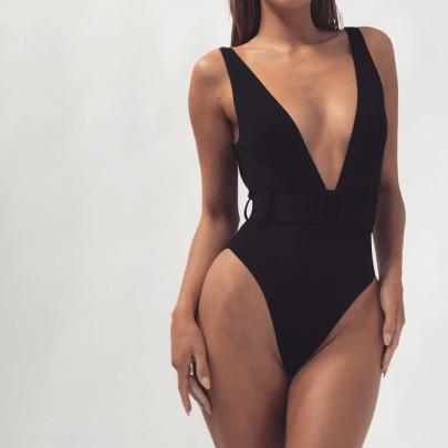Leopard Print Belt Buckle One-piece Swimsuit Nihaostyles Wholesale Clothing Vendor NSDA72668
