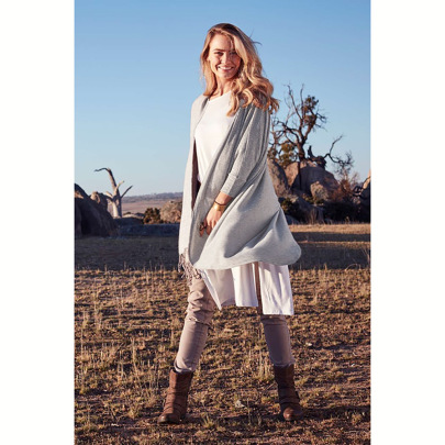 Women's Loose Mid-length Shawl Knit Cardigan Jacket Nihaostyles Clothing Wholesale NSHYG72673