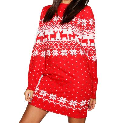 Women's Christmas Print Round Neck Long Sleeve Dress Nihaostyles Clothing Wholesale NSHYG72682
