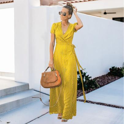 Women's Short-sleeved Polka-dot Long Dress Nihaostyles Clothing Wholesale NSHYG72684