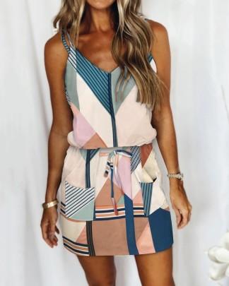 Lace-up Striped Drawstring Dress Nihaostyles Wholesale Clothing Vendor NSMS72694