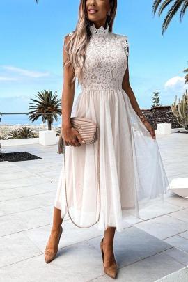 Lace Stitching Mesh Sleeveless Mid-length Dress Nihaostyles Wholesale Clothing Vendor NSMS72696