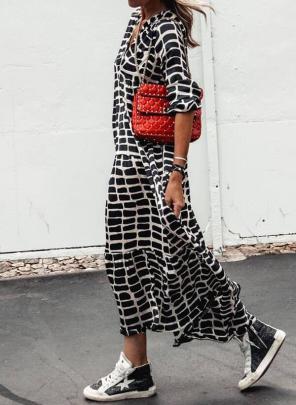 Printed Leopard Print V-neck Swing Long-sleeved Long Dress Nihaostyles Wholesale Clothing Vendor NSMS72698