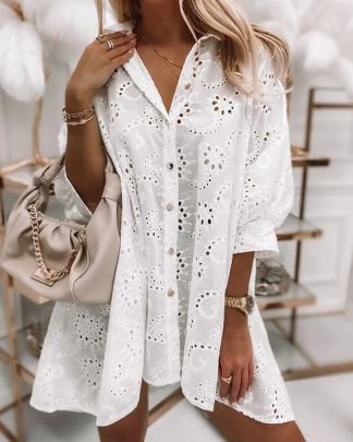 Loose Solid Color Hollow Single-breasted Long Shirt Dress Nihaostyles Wholesale Clothing Vendor NSMS72699