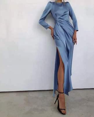 Satin Slit High Waist Long Sleeve Waist Tie Dress Nihaostyles Wholesale Clothing Vendor NSMS72700