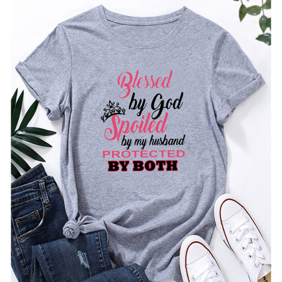 Women's Casual Short-sleeved T-shirt With Color English Printing Nihaostyles Clothing Wholesale NSYAY73762