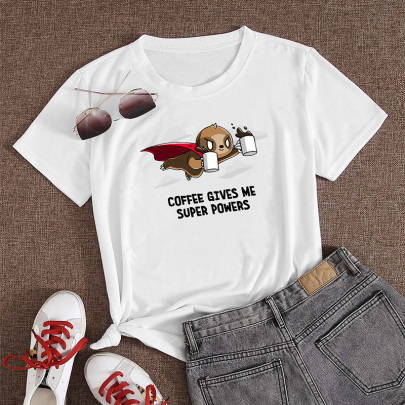 Women's Cartoon Flying Animal English Print Short-sleeved T-shirt Nihaostyles Clothing Wholesale NSYAY73760