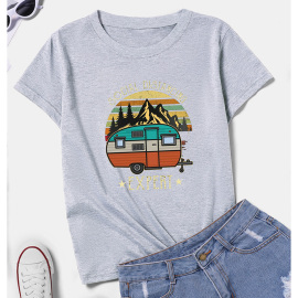 Women's Cartoon Car Landscape Painting Print Short-sleeved T-shirt Nihaostyles Clothing Wholesale NSYAY73759
