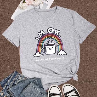Women's Cartoon Rainbow Printed Short-sleeved T-shirt Nihaostyles Clothing Wholesale NSYAY73758