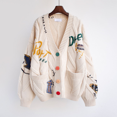 Women's Hand-embroidered Loose Knit Cardigan Nihaostyles Clothing Wholesale NSBY76848