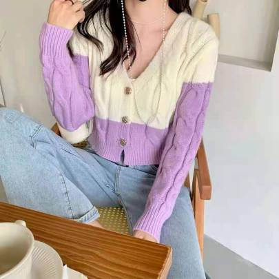 Women's Color-blocking Knitted Short Cardigan Nihaostyles Clothing Wholesale NSBY76851