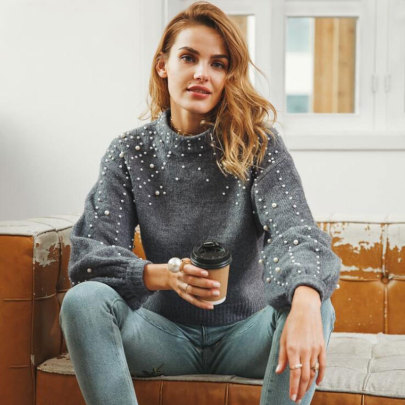 Women's Round Neck Loose  Pearl Decoration Knit Short Sweater Nihaostyles Clothing Wholesale NSBY76852