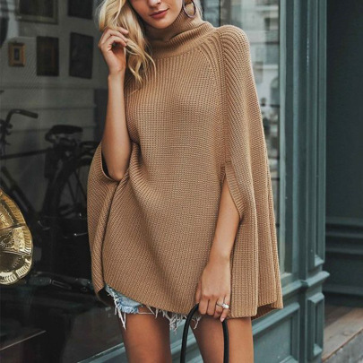 Women's Solid Color Turtleneck Loose Cape Shawl Sweater Nihaostyles Clothing Wholesale NSBY76856