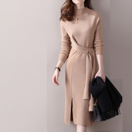 Women's Half-high Collar Wool Knit Slit Dress Nihaostyles Clothing Wholesale NSBY76859