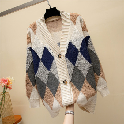 Women's V-neck Loose Knit Square Mid-length Cardigan Nihaostyles Clothing Wholesale NSBY76867