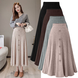 Women's High-waist Knitted Mid-length Pleated Skirt Nihaostyles Clothing Wholesale NSBY76869