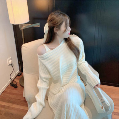 Women's Pullover Sweater And Knitted Suspender Dress Suit Nihaostyles Clothing Wholesale NSBY76872
