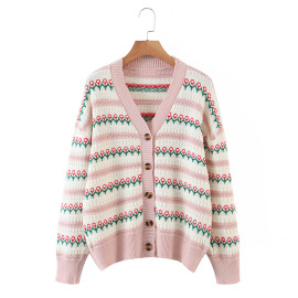Women's Striped Jacquard Knitted Cardigan Nihaostyles Clothing Wholesale NSBY76876