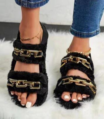 Women's Metal Plush Slippers Nihaostyles Clothing Wholesale NSCRX76882