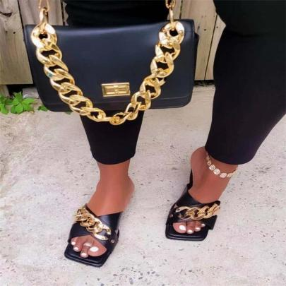 Women's Metal Chain Slippers Nihaostyles Clothing Wholesale NSCRX76884