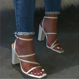 Women's Square Toe Thick High-heeled Sandals Nihaostyles Clothing Wholesale NSCRX76887