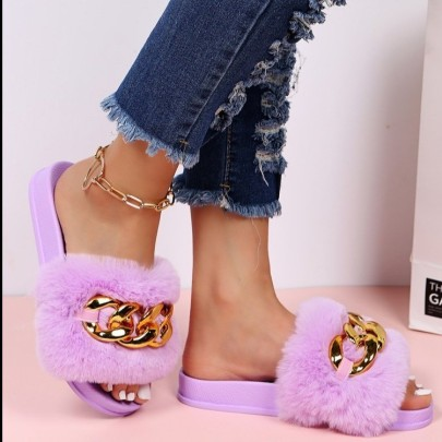 Women's Metal Chain Hairy Slippers Nihaostyles Clothing Wholesale NSCRX76886