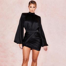 Women's Solid Color Lantern Sleeve Long-sleeved Irregular Dress Nihaostyles Clothing Wholesale NSDMS76890