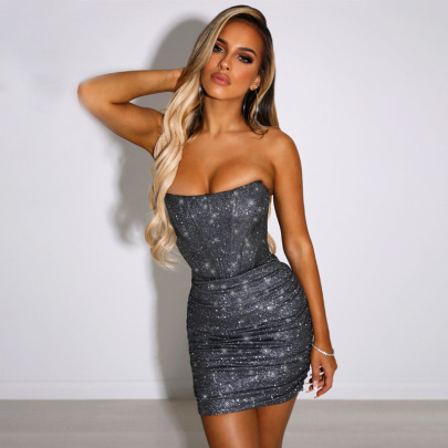 Women's Strapless Shoulder-wrapped Breast Fish Bone Dress Nihaostyles Clothing Wholesale NSDMS76891