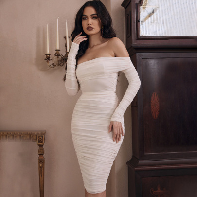 Women's Solid Color Slim Long-sleeved Pleated Dress Nihaostyles Clothing Wholesale NSDMS76892