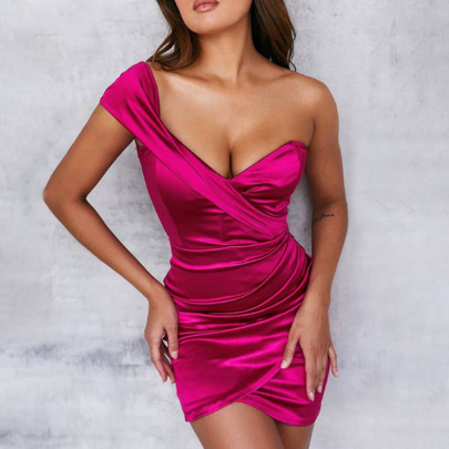 Irregular Solid Color Wrapped Chest V-neck Dress Nihaostyles Clothing Wholesale NSDMS76895