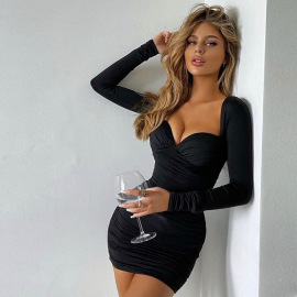 Women's V-neck Long-sleeved Solid Color High-waist Wrap Breast Dress Nihaostyles Clothing Wholesale NSDMS76904