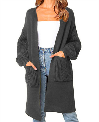 Women's Solid Color V-neck Twist Lantern Sleeve Knitted Cardigan Nihaostyles Clothing Wholesale NSBY76910