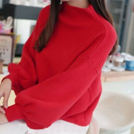 Women's Half High Neck Loose Lantern Sleeve Pullover Sweater Nihaostyles Clothing Wholesale NSBY76911