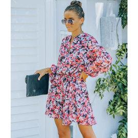 Women's Flower Print Lantern Sleeve Ruffled Hem Long Sleeve Dress Nihaostyles Clothing Wholesale NSJIM77092