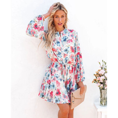Flower Print Lantern Sleeve Long Sleeve Dress Nihaostyles Clothing Wholesale NSJIM77061