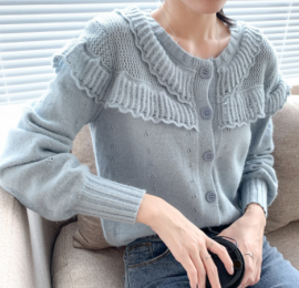 Women's Lantern Sleeve Lace Hollow Short Knitted Cardigan Nihaostyles Clothing Wholesale NSBY76850
