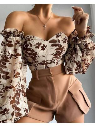 Women's Shoulder Wrap Chest Printed Lantern Sleeve Chiffon Blouse Nihaostyles Wholesale Clothing NSNXX78191