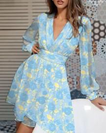 Women's Long-sleeved V-neck  Printing Dress Nihaostyles Wholesale Clothing NSNXX78194