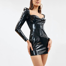 Women's PU Leather Low-cut Long-sleeved Square Neck Dress Nihaostyles Clothing Wholesale NSFD78204