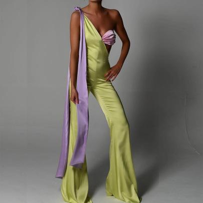 Women's One-shoulder Ribbon One-piece Wide-leg Jumpsuit Nihaostyles Clothing Wholesale NSFD78206