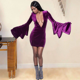 Women's Deep V Sexy Mink Velvet One-piece Skirt Nihaostyles Wholesale Clothing NSQMD78209
