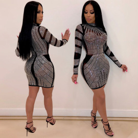Women's Rhinestone Mesh Slim Dress Nihaostyles Clothing Wholesale NSXYZ78215