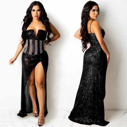Women's Rhinestone Sequins Mesh Suspenders V-neck Slit Dress Nihaostyles Clothing Wholesale NSXYZ78220