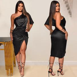 Women's Solid Color One-shoulder Slit Dress Nihaostyles Clothing Wholesale NSXYZ78223