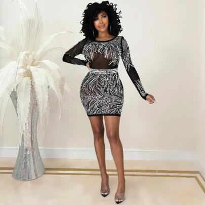 Women's Net Yarn Rhinestone Dress Nihaostyles Clothing Wholesale NSXYZ78231